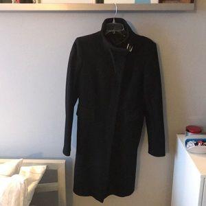 Black Zara wool coat with high collar